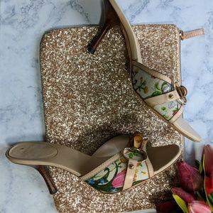 Gucci   Floral Slide Kitten Heel w/Bamboo Ring